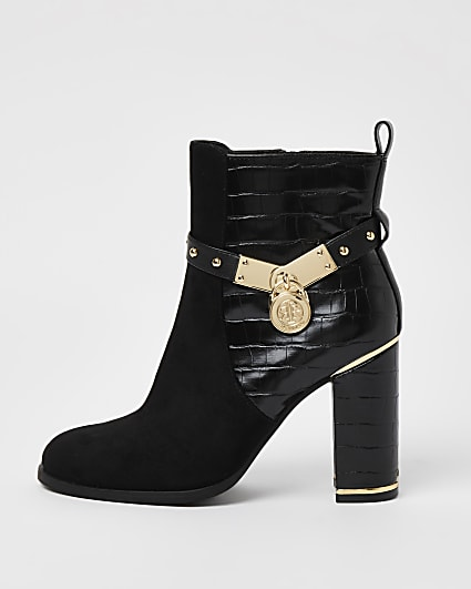 Black croc embossed heeled ankle boots