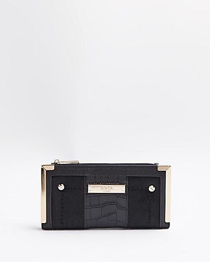 Black croc embossed leather purse
