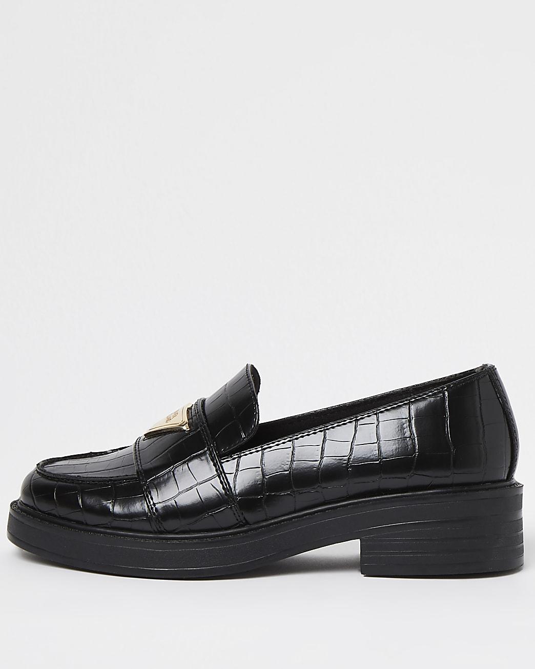 Black croc embossed loafers