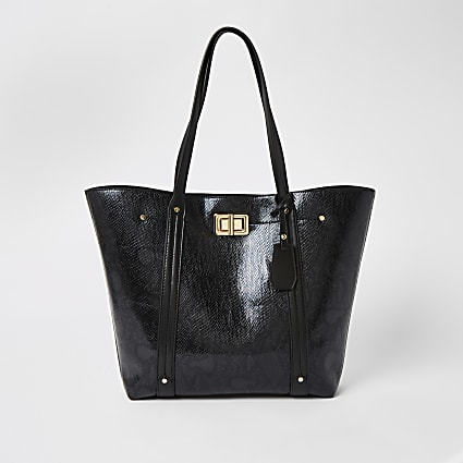 Black croc embossed lock front shopper bag