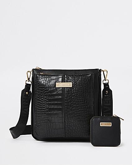 Black croc embossed messenger bag