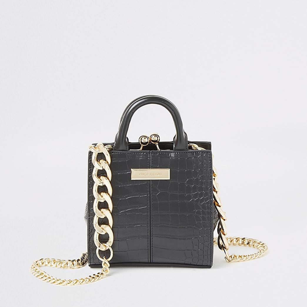 Black croc embossed mini clip top bag