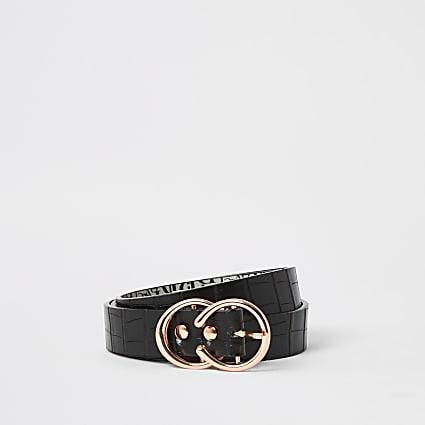 Black croc embossed mini double ring belt