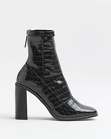 Black croc embossed patent sock boots