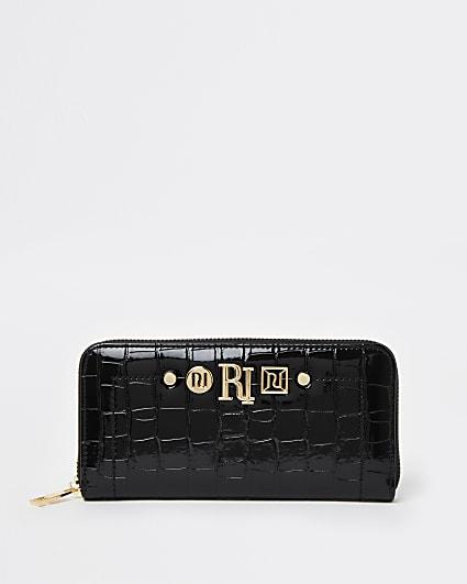 Black croc embossed purse