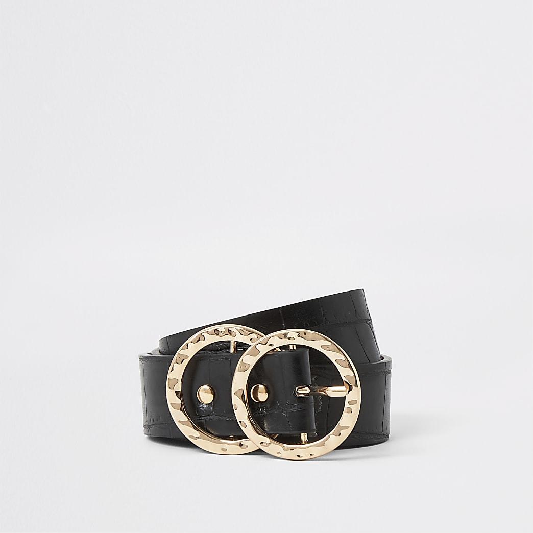 Ceinture noire grain croco à boucle en anneaux