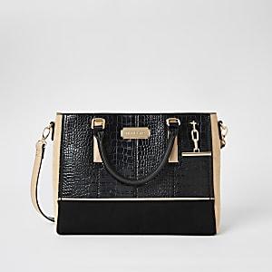 Black croc embossed T-bar charm tote bag