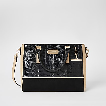 Black croc embossed T-bar charm tote bag
