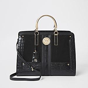 Zwarte handtas met krokodillenreliëf
