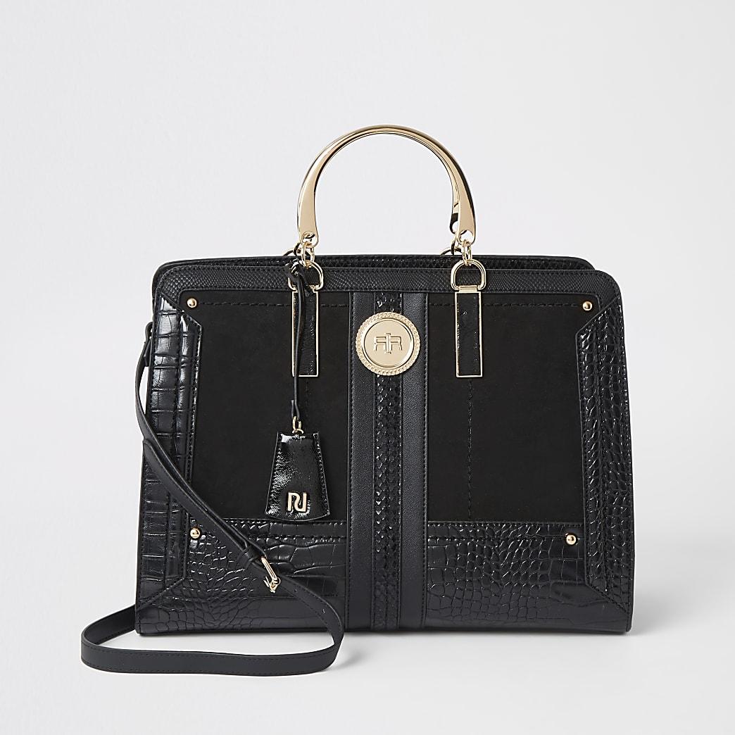 Schwarze Tote Bag mit Krokoprägung
