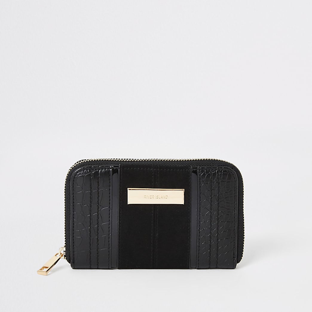 Black croc embossed zip around small purse