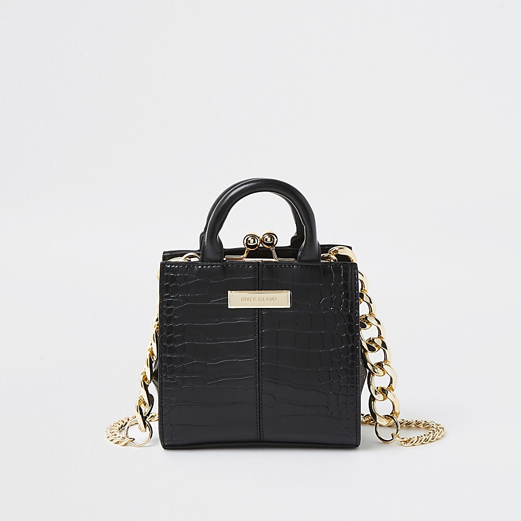 Black croc mini lady handbag