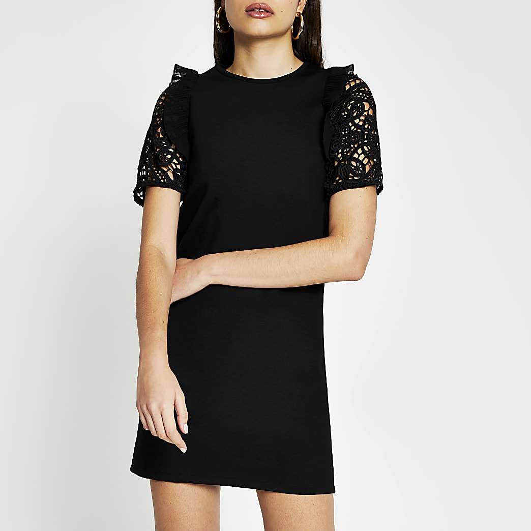 Black crochet sleeve T-shirt Dress