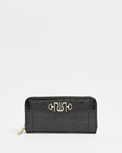 Black crocodile embossed purse