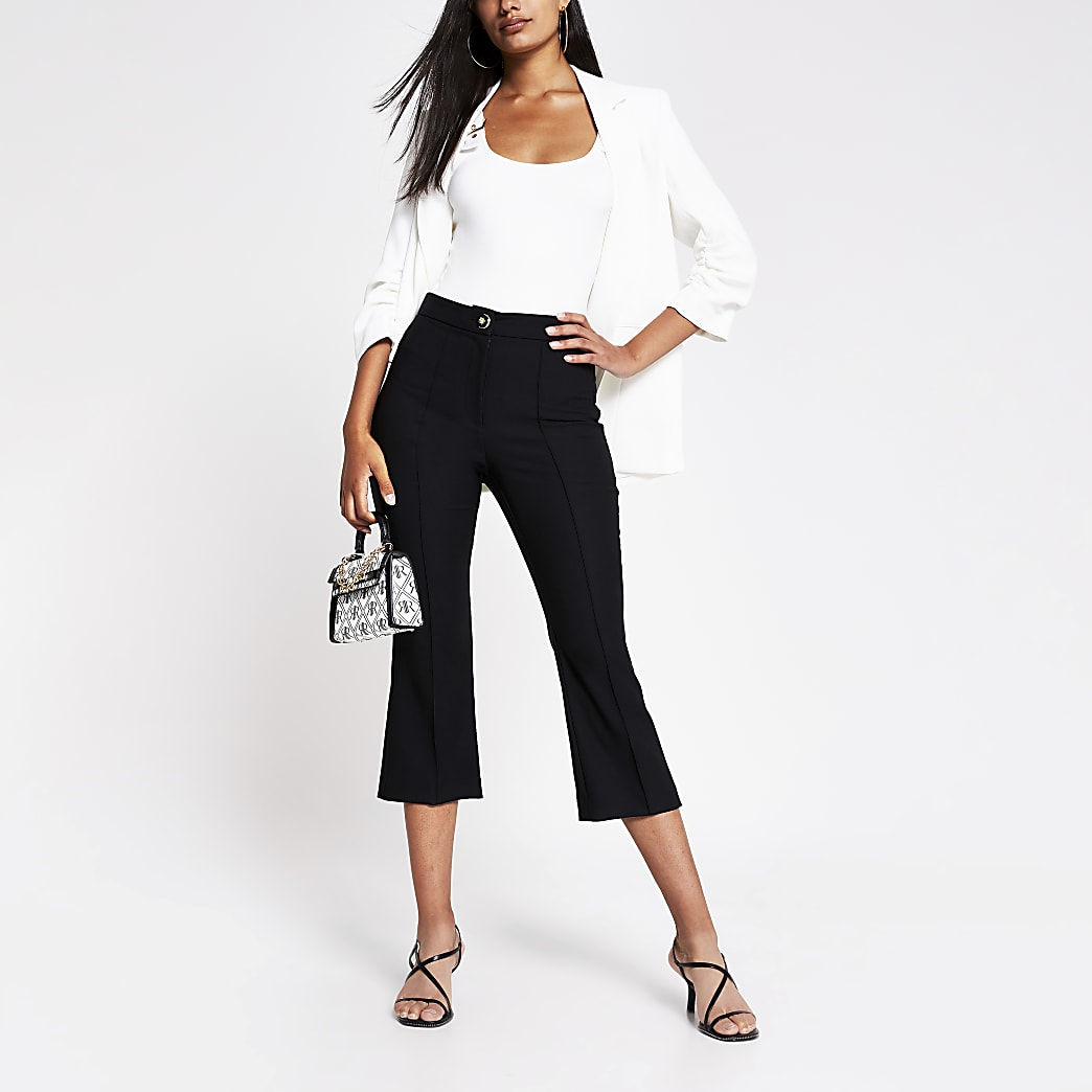 Black crop flare trouser