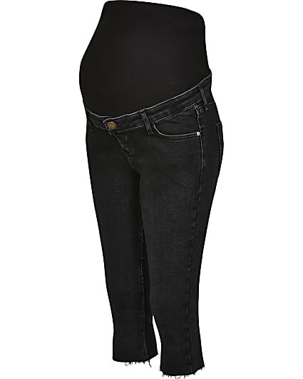 Black cropped maternity jeans