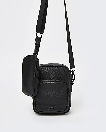Black cross body bag with pouch