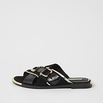 Black cross over snaffle sandals