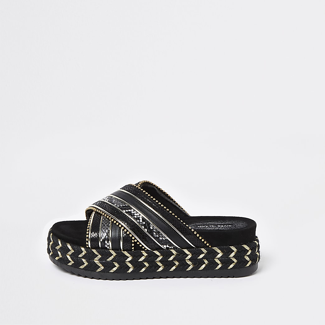 Black cross strap espadrille sandals