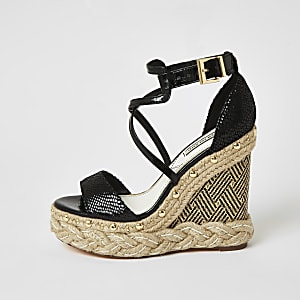 Black cross strap espadrille wedge sandals