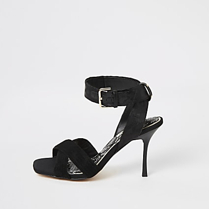 Black cross strap high heeled sandal