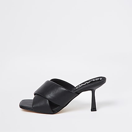 Black cross strap mule