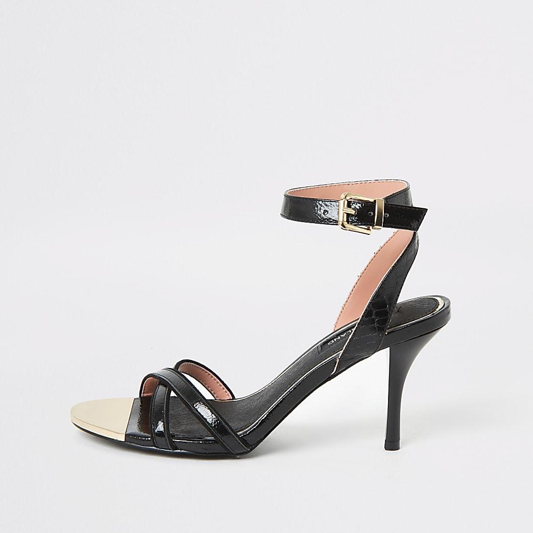 Black cross strap skinny heel sandal