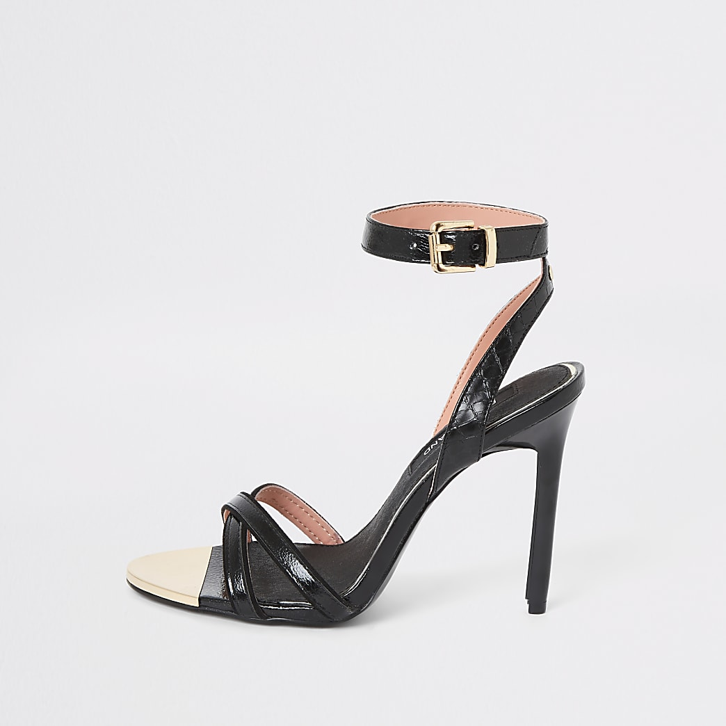 Black cross strap thin heel sandal
