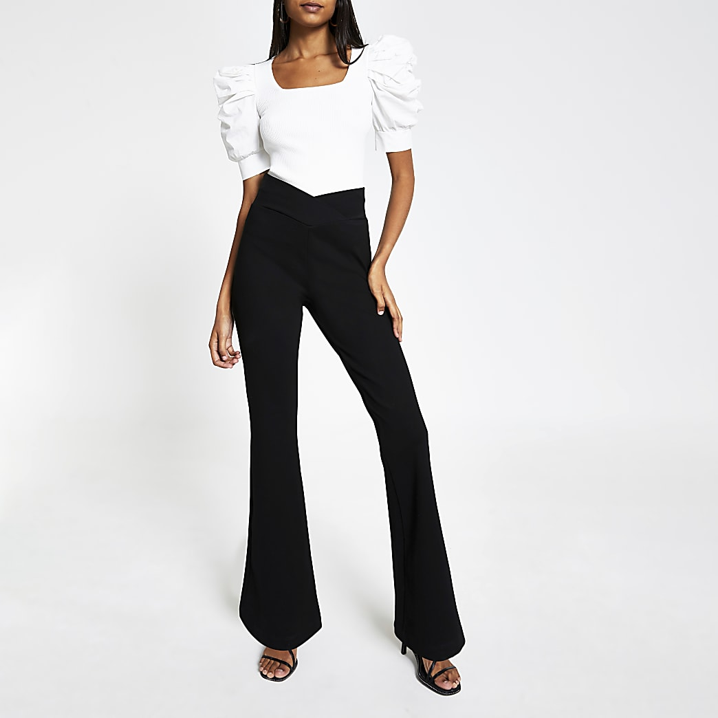 Black crossover waistband flare trousers