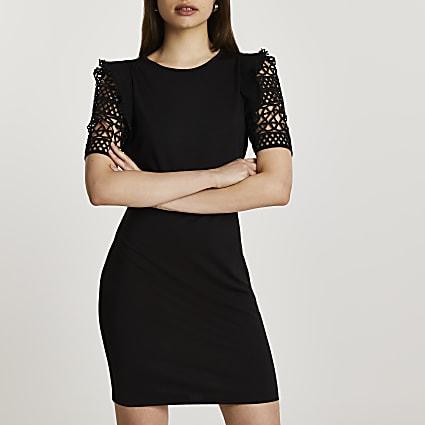 Black crotchet sleeve mini dress