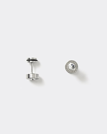 Black crystal tunnel earrings