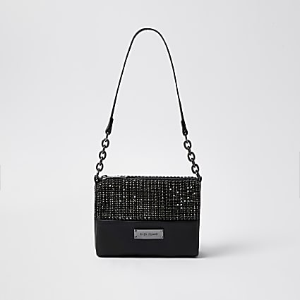 Black crystal underarm bag