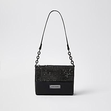 Black crystal underarm handbag