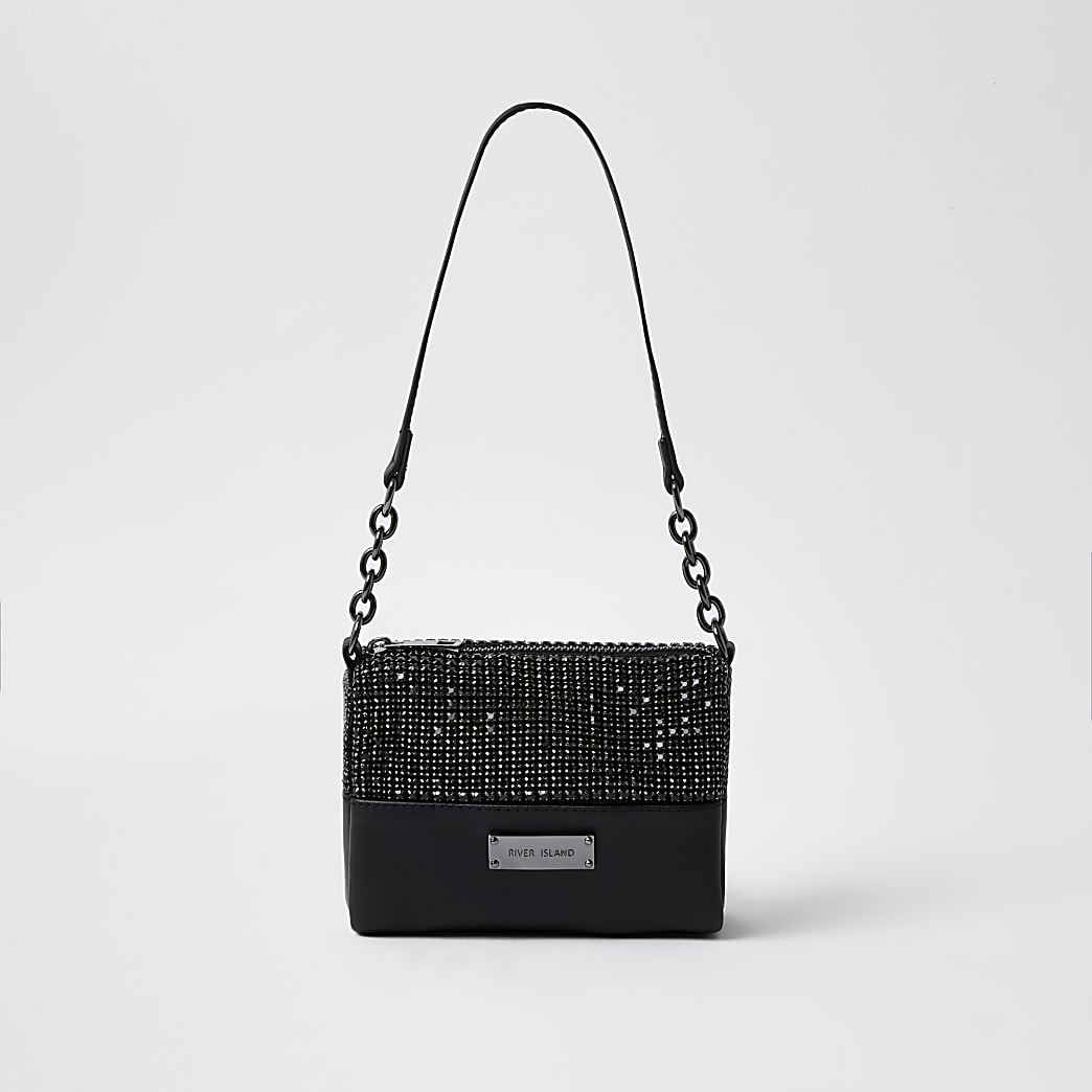 Black crystal underarm handbag