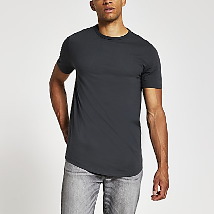 Black curve hem regular fir T-shirt