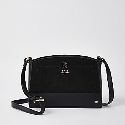 Black curved cross body handbag
