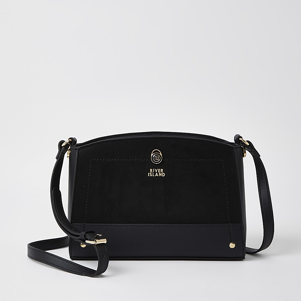 Black curved crossbody bag