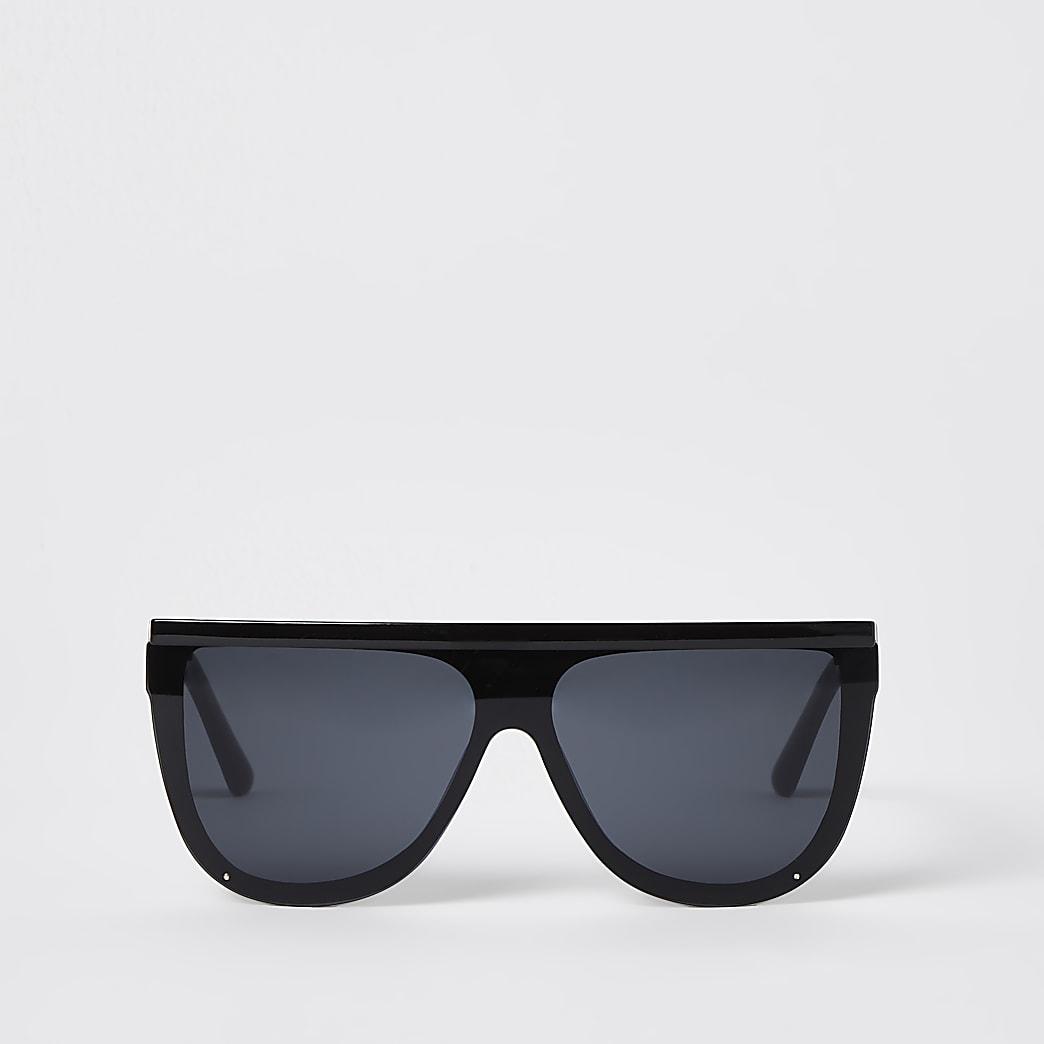 Black curved oversized visor sunglasses