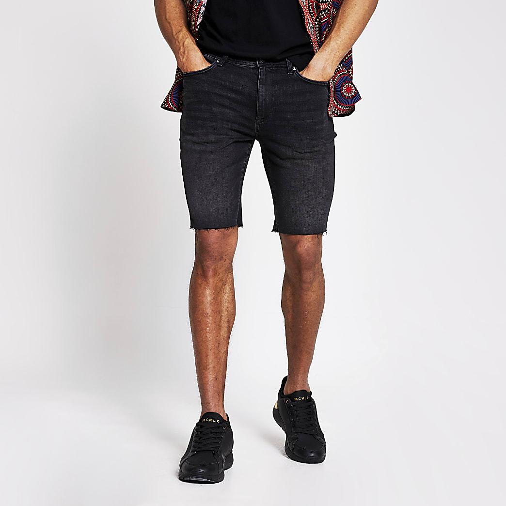 Black cut off Sid skinny denim shorts