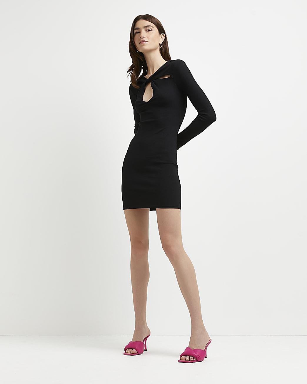 Black cut out bodycon mini dress