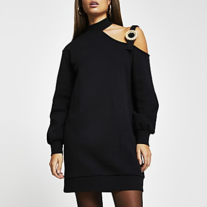 Black cut out buckle sweater mini dress