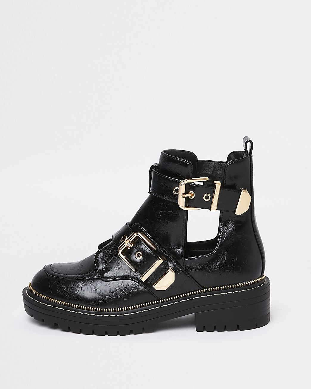 Black cut out chunky buckle ankle boots