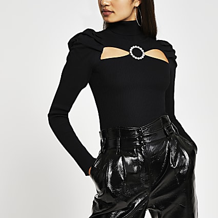 Black cut out diamante buckle top