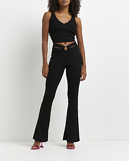 Black cut out flared trousers