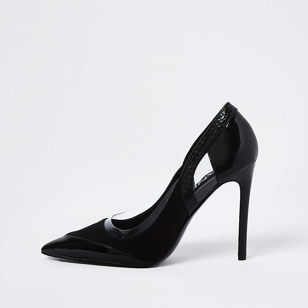 Black cut out high court heel