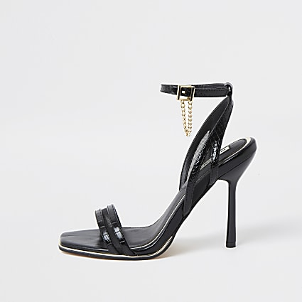 Black cut out mesh barely there sandal