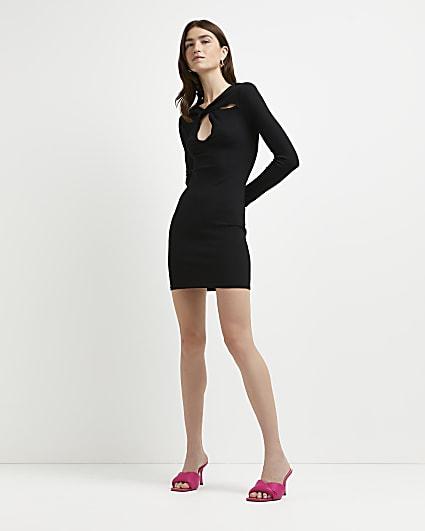 Black cut out mini dress