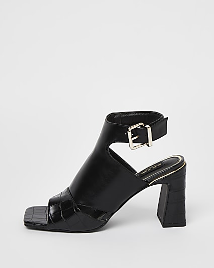 Black cut out square toe heeled shoe boots