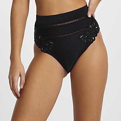 Black cut work high waisted bikini bottoms