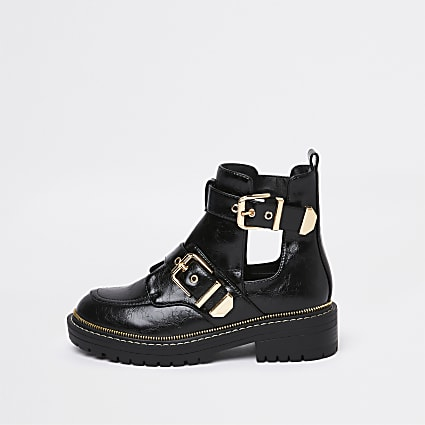 Black cutout chunky buckle ankle boot